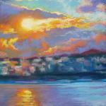 Sunrise on the Bosphorus, Istanbul </br>3/31/15 New York, NY </br>pastel </br>posted 4/1/15 12:45