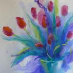 ​A Splash of Tulips </br>4/3/15 New York, NY </br>ink and acrylic  </br>posted 2:00pm 4/4/15