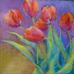 SOLD Tulips: Nod and Curtsey </br>4/7/15  New York, NY </br>pastel </br>posted 4/8/15  11:15am