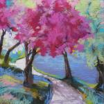 Pink, Along Harlem Meer </br>4/18/15  New York, NY </br>pastel </br>posted 4/19/15  6:30pm