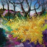 Forsythia </br>4/26/15  New York, NY </br>pastel </br>posted 4/27/15  2:00pm