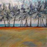 SOLD Beach Row 6/01/15  Nassau, Bahamas watercolor, pastel, charcoal posted 6/02/15  2:00am