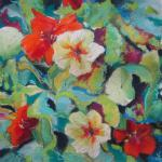 Nasturtium Salad 6/27/15  New York, NY watercolor and pastel posted 6:30pm  6/28/15