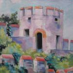 Constantinople City Walls 7/01/15  New York, NY pastel over watercolor posted 4:30pm  7/02/15