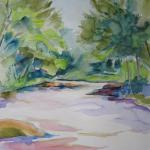Mongaup River 7/05/15  Monticello, NY watercolor posted 10:15am 7/06/15
