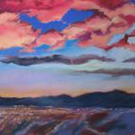 Silicon Valley Sunset 7/13/15  San Jose, CA pastel posted 11:45am  7/14/15