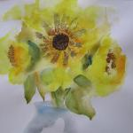 Ah, Sunflower! 7/17/15  New York, NY watercolor, beads, glitter posted 5:30pm  7/18/15