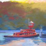 SOLD Tugboat-on-Hudson 7/18/15  New York, NY pastel posted 5:30pm  7/19/15