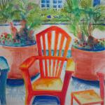 Sidewalk Cafe, California Style 7/21/15 New York, NY watercolor, colored pencil posted 8:00pm 7/22/15