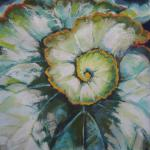SOLD Spiral Leaf, aka Escargot Begonia 7/22/15  New York, NY pastel over watercolor posted 6:30pm  7/23/15