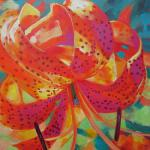 SOLD Spotted Tiger Lily 7/23/15  New York, NY acrylics posted 8:30pm  7/24/15