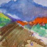 Landscape with Red Mountain 7/25/15  New York, NY watercolor, ink, and a touch of oil pastel posted 9:00am 7/26/15