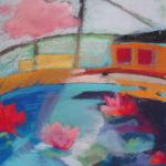 A Bridge from My Pond to Yours 7/28/15  New York, NY pastel over watercolor posted 3:45pm  7/29/15