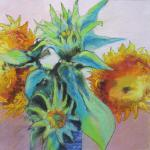 Teddy Bear Sunflowers 8/1515 New York, NY pastel, charcoal posted 6:15pm 8/20/15