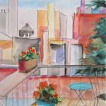 Rooftop Retreat 8/16/15 New York, NY watercolor, charcoal posted 2:30pm 8/21/15