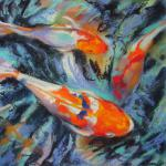 SOLD Koi 8/20/2015  New York, NY pastel over watercolor posted 8:00pm  8/25/15