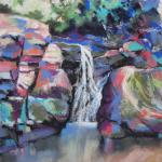 Hidden Falls 8/22/15  New York, NY pastel, watercolor, charcoal posted 6:30pm 8/27/15