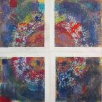 "SOLD Stained Glass Quartet  8/23/15  New York, NY mixed media (plenty of sparkle!) posted 11:45pm  8/28/15 ​ *This piece consists of four separate panels which are each 6"" square, and can also be displayed individually."