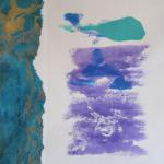 "Flow, Go With It 9/12/15  New York, NY monoprint,"" handprint"", collage posted 12:15pm 9/17/15"