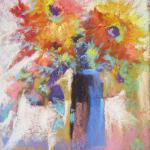 SOLD Frenzied Floral 9/14/15 New York, NY pastel posted 11:45pm 9/18/15.