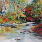 SOLD Mongaup River Autumn 10/10/15  Monticello, NY watercolor posted 11:45pm 10/16/15