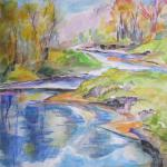 SOLD Looking Down River 10/11/15  Monticello, NY watercolor posted 11:45pm 10/17/15
