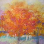 Variation on Orange Trees ​10/16/15  Minneapolis, MN watercolor, pastel posted 6:00pm 10/23/15