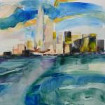 View from the Staten Island Ferry 10/24/15   New York, NY watercolor posted 6:00pm 10/31/15