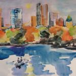 City Row Boat 10/31/15  New York, NY watercolor posted 11:45pm 11/08/15