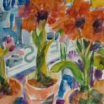 SOLD Christmas Amaryllis  12/01/15  New York, NY watercolor posted 11:40pm 12/08/15