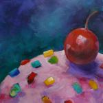 SOLD Planet Cupcake with Cherry Moon 12/16/15 New York, NY acrylic posted 4:00pm 12/24/15