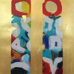 "<font size=7 color=""#ff0000"">&#9679;</font>SOLD </br>Totems   </br>1/24/15, New York, NY </br>acrylic and gold foil </br>posted 1/25/15 2:25pm ​"