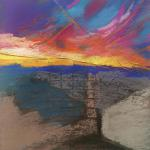 Monumental Sky </br>2/25/15, New York, NY </br>pastel over collaged paper </br>posted 2/26/15 12:10pm